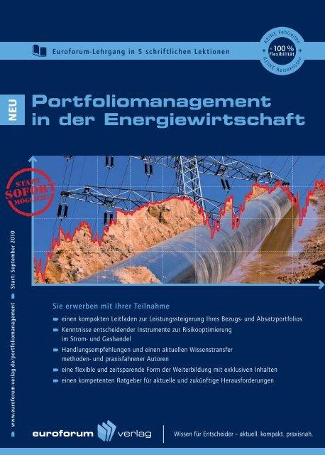 Portfoliomanagement in der Energiewirtschaft