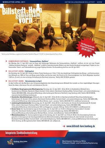 Newsletter Billstedt-Horn, April 2011 - Entwicklungsraum Billstedt ...
