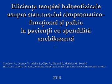 9. Eficienţa terapiei balneofizicale asupra statutusului simptomatico ...