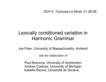 Lexically conditioned variation in Harmonic Grammar