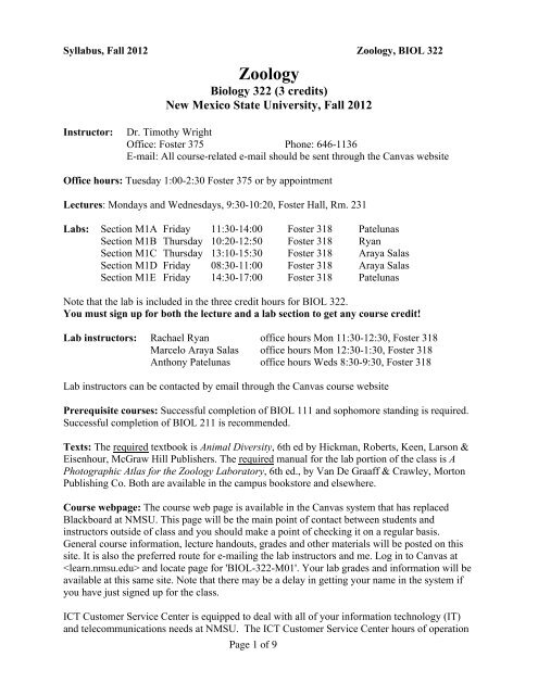 Syllabus Fall 2012 PDF Department Of Biology New Mexico