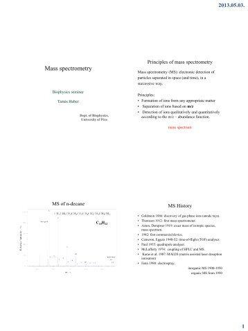 A tömegspektrometria analitikai és szerkezetvizsgálati alkalmazásai