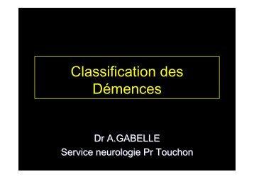 Classification des Démences
