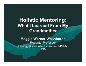 Holistic mentoring: What I Learned From My Grandmother - Biology