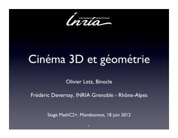 Cinéma 3D et géométrie - Inria