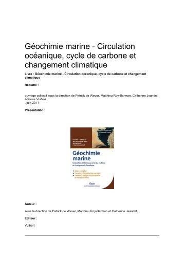 Géochimie marine - Circulation océanique, cycle de carbone ... - IPSL