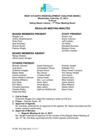 regular meeting minutes board members present staff present board ...