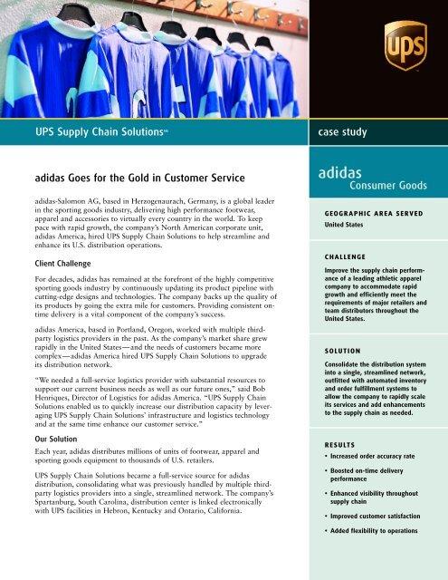 moderno y elegante en moda elige el más nuevo pulcro adidas Goes for the Gold in Customer Service - UPS Supply Chain ...