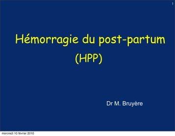 Présentation des RPC pour l'hémorragie du Post-Partum (HPP ...