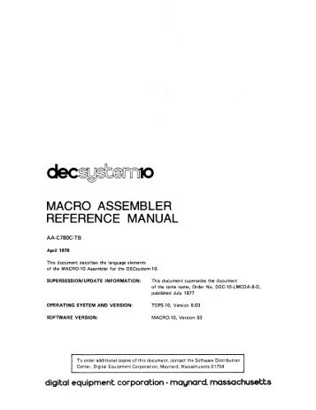 MACRO ASSEMBLER REFERENCE MANUAL - Trailing-Edge