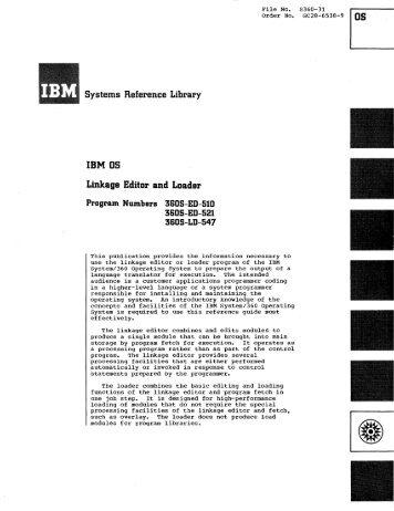 IBM OS Linkage Editor and Loader GC28-6538
