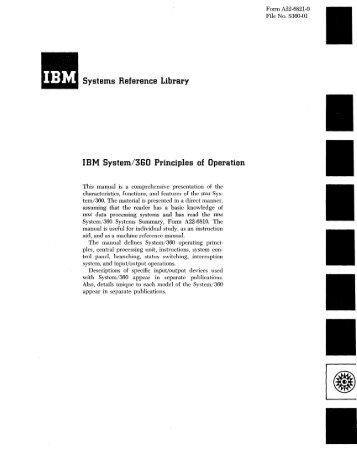 Systems Reference Library IBM System/360 Principles of Operation
