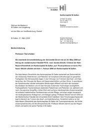 Medienmitteilung mit Logo - Kantonsspital St. Gallen