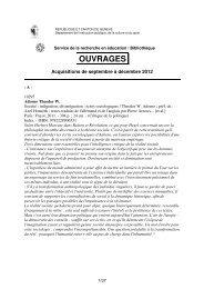 Liste des ouvrages - Etat de Genève