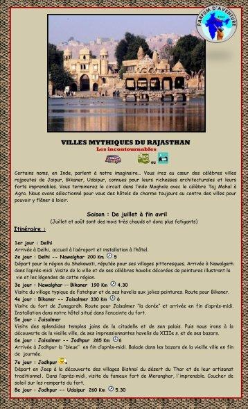 Villes mythiques du Rajasthan - Parfum d'Aventure