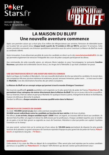 Lancement La Maison du Bluff - PokerStars.fr