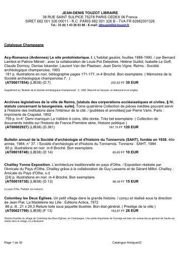 Télécharger le catalogue format Pdf - Jean-Denis Touzot libraire