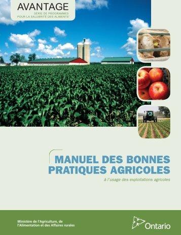 manuel des bonnes pratiques agricoles - Ontario Ministry of ...