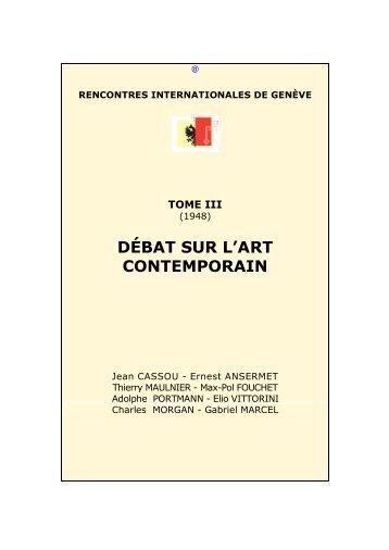 Débat sur l'art contemporain - Rencontres Internationales de Genève