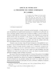 ASPECTS DU MYTHE DANS LA PHILOSOPHIE ... - Claude Zilberberg