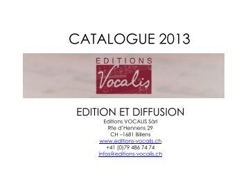 CATALOGUE 2013 complet - Editions Vocalis