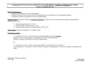 Groupement de texte : Candide - Académie de Nancy-Metz