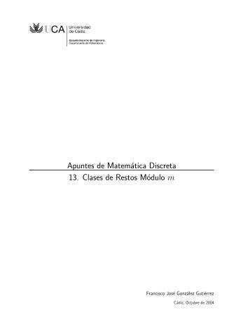 Apuntes de Matemática Discreta - Universidad de Cádiz