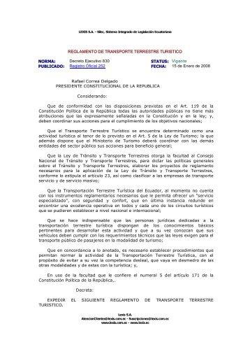REGLAMENTO DE TRANSPORTE TERRESTRE TURISTICO ...