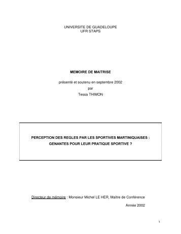 Perception des règles par les sportives Martiniquaises - Centre d ...