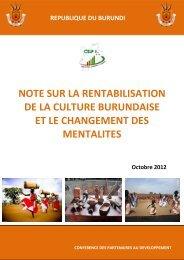 note sur la rentabilisation de la culture burundaise et le changement ...