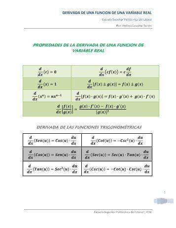 Propiedades de las derivadas, Derivada de funciones ...