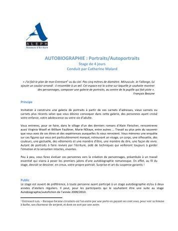 AUTOBIOGRAPHIE : Portraits/Autoportraits - Aleph écriture
