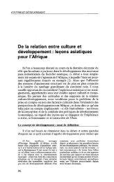 De la relation entre culture et développement ... - Politique Africaine
