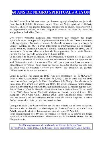 60 ANS DE NEGRO SPIRITUALS A LYON - Lyon Glee Club