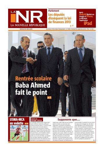Abdelatif Baba Ahmed fait le point - La Nouvelle République