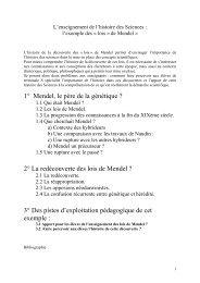 1° Mendel, le père de la génétique - Académie de Clermont-Ferrand