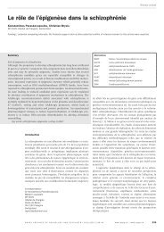 Le rôle de l'épigenèse dans la schizophrénie - Sanp.ch