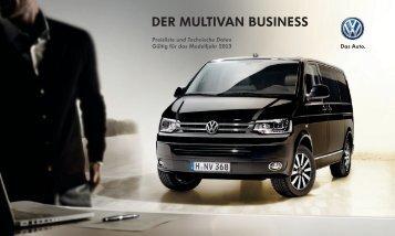 Preisliste Der Multivan Business Modelljahr 2013