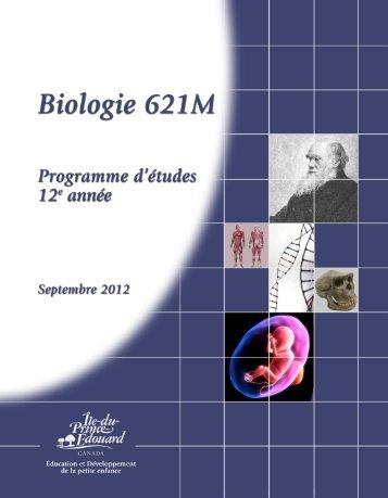 Biologie 621M Programme d'études