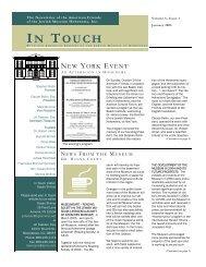 Newsletter der American Friends of the Jewish Museum