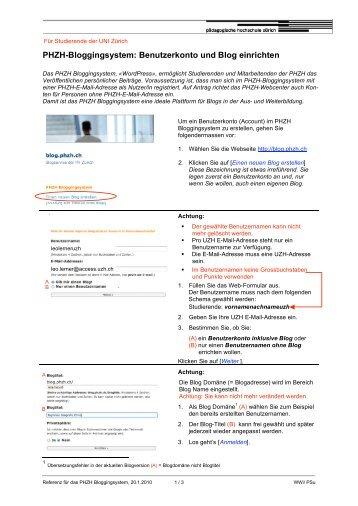 Einrichten PHZH-Blog2010_UZH