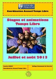Brochure des stages et animations temps libre de Stavelot - Eté 2013