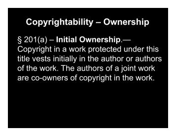 Copyrightability – Ownership