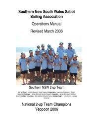 SNSWSSA Operations Handbook - Southern NSW Sabot Sailing ...