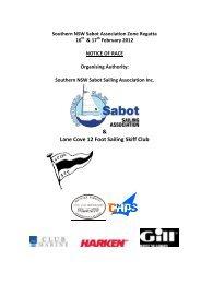 Notice of Race - Southern NSW Sabot Sailing Association