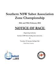 Southern NSW Sabot Association Zone Championship NOTICE OF ...