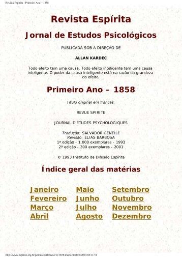 Revista Espírita - Primeiro Ano – 1858 - Portal do Espírito