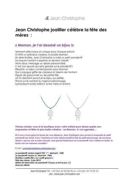 Jean Christophe Joaillier Célèbre La Fête Des Mères