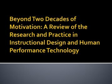 Beyond Two Decades of Motivation: A Review of the ... - BGSU Blogs