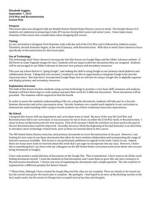 Elizabeth Goggins September 7, 2012 Civil War ... - Dickinson Blogs